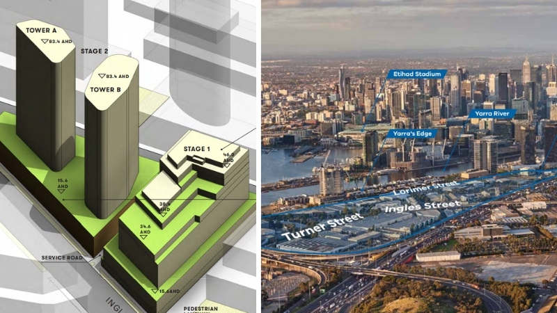 Two images - Goodman Group's plans for two residential towers and an office building and an aerial image of Lorimer, Fishermans Bend located between the Westgate Freeway and Yarra River.