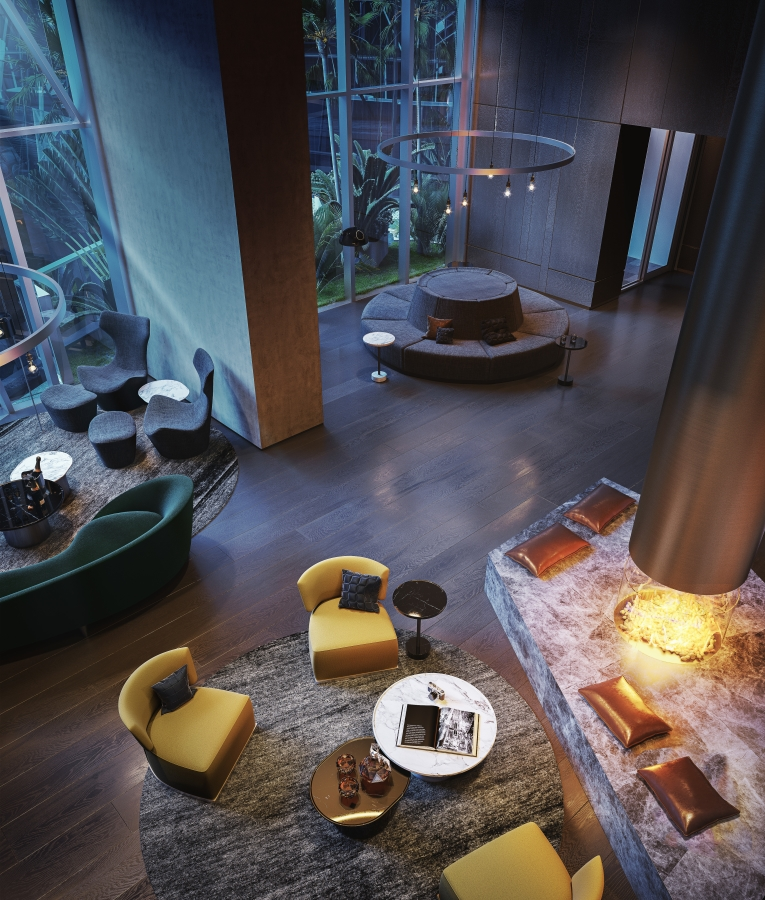 One of the luxurious residential lounge areas