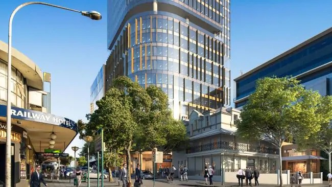 """Mackycorp's $106.5 million proposal includes the construction of a 23-storey tower, a two-level building """"The Stables"""" to the north of the site and the refurbishment of the heritage New Commercial Hotel and Malaysian restaurant."""
