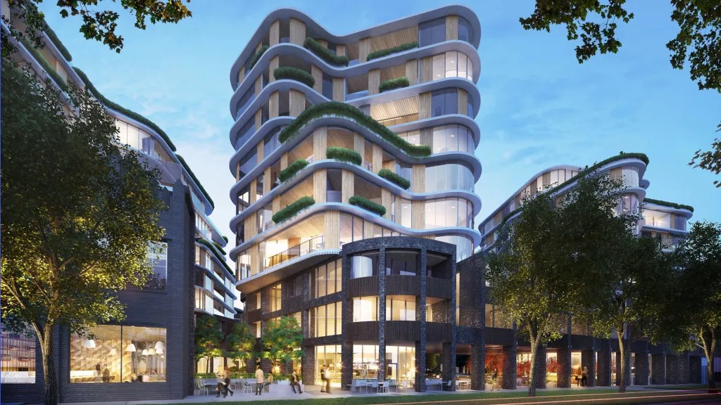 Gurner's revised plans for 25-56 Queens Parade, North Fitzroy. Gurner originally proposed a 16-storey twin-building design for the site. The new proposal will have around half the number of apartments and townhouses.