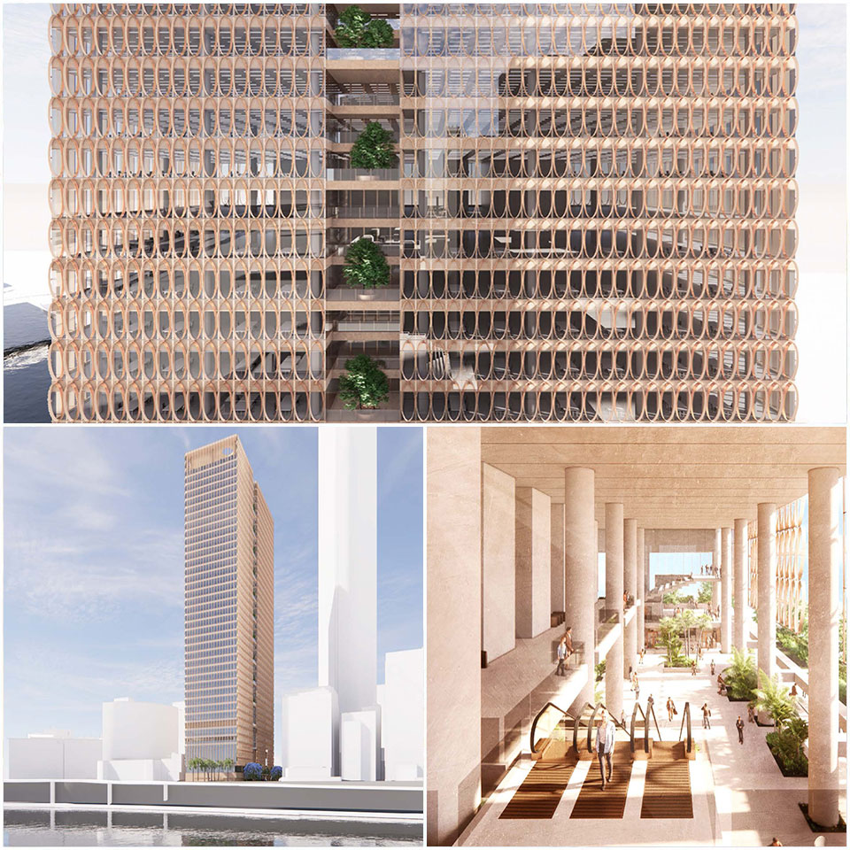▲ The tower's proposed design will feature deep overhangs, multi-level cross-ventilation and shade-giving plantings maximise the use of external, public places in all weather conditions. Image: Hassell, REX, Richards & Spence