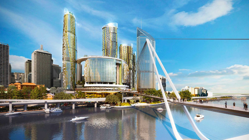 ▲ Star, led by chief executive Matt Bekier, is paying $1 billion to the Queensland government over the next 15 years as part of the development, which has taken up half a dozen blocks of prime real estate on the Brisbane River's northern banks. Image: Cottee Parker Architects