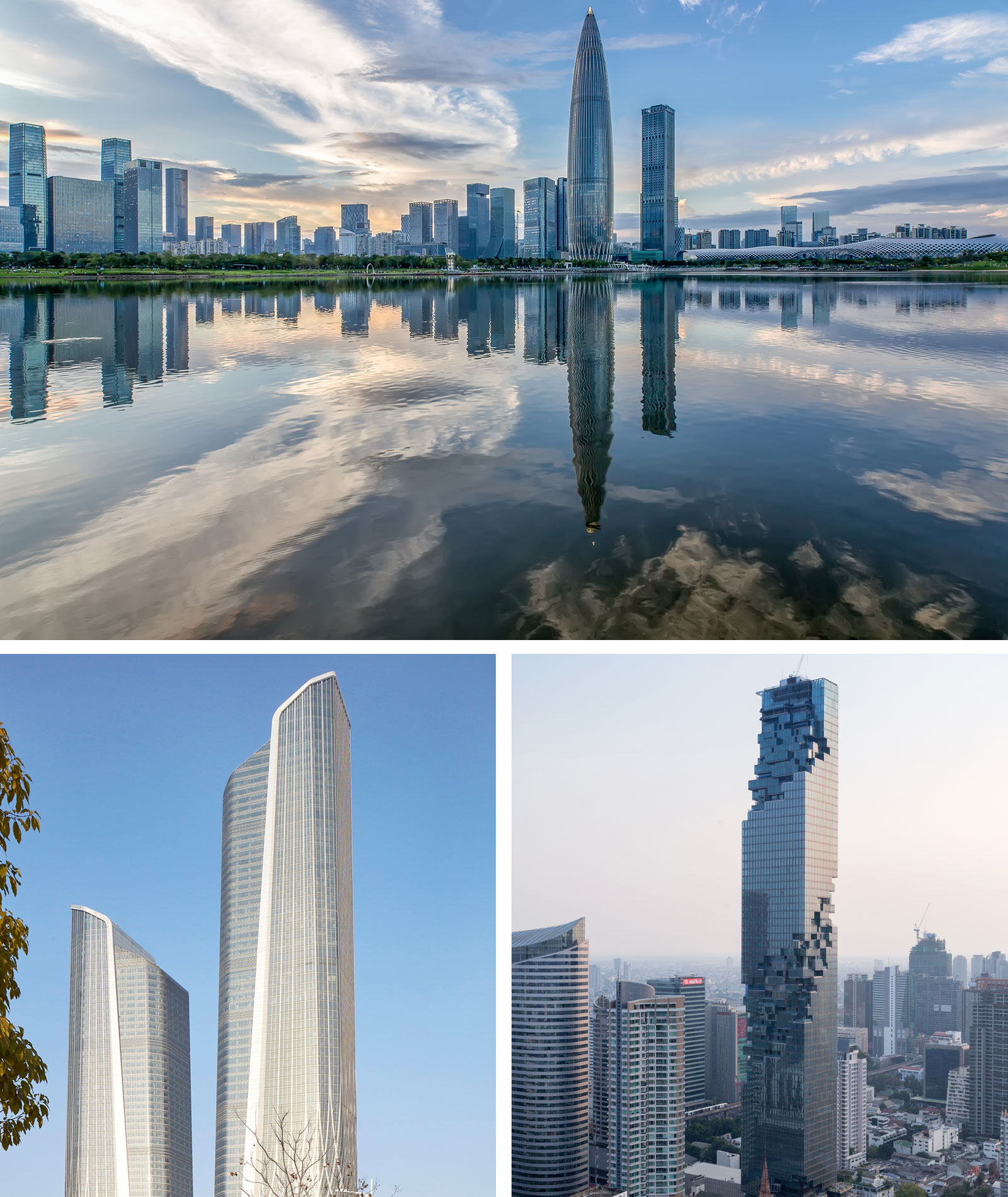 China Resources Headquarters - Shenzen (top middle), Jumeirah Nanjing Hotel - Nanjing (bottom left), MahaNakhon - Bangkok (bottom right).