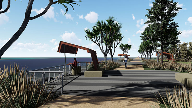 ▲ Seaway Promenade and the Moondarewa Spit foreshore parkland at The Spit.