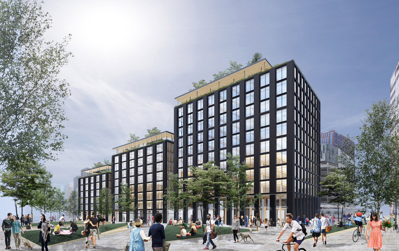 Lotus is planning an 11-storey wooden office building to front Riverfront Square, the developer's 11.8-acre masterplan in Newark, New Jersey.