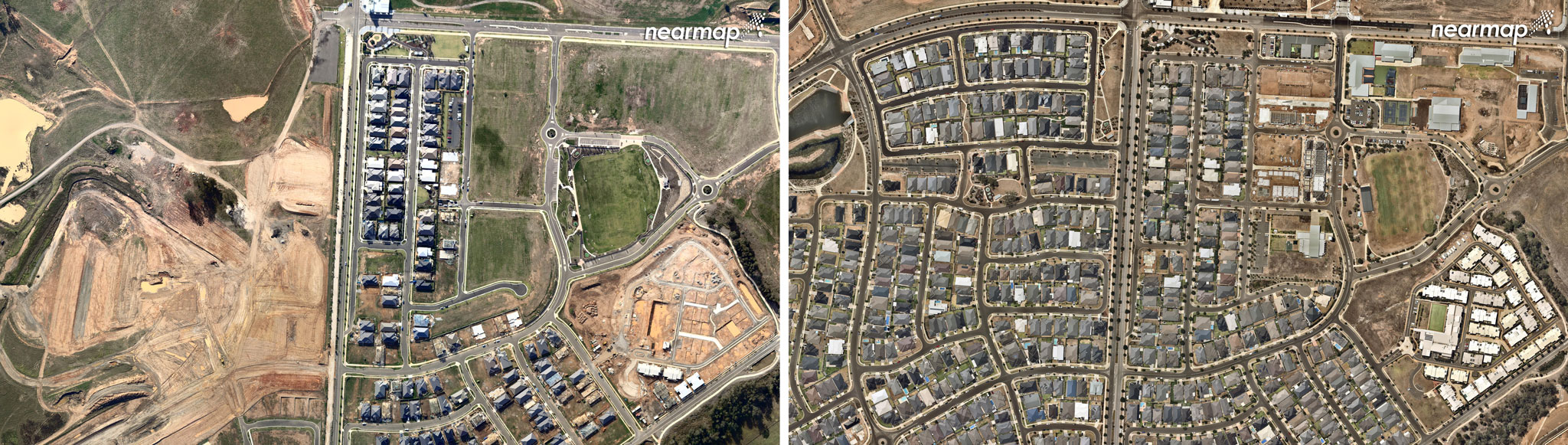 Oran Park, June 2011(left), Oran Park, January 2018 (right).