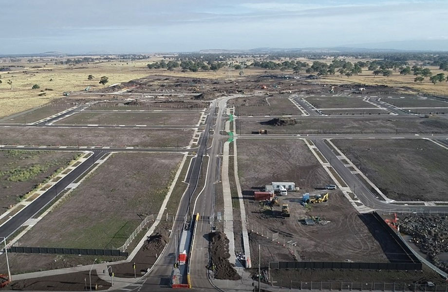 Aerial view of civil works underway at Lyndarum North Wollert Victoria.