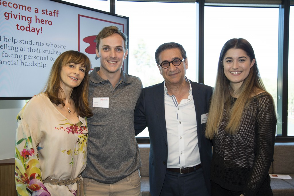 Soheil and his wife Anne Abedian with scholarship recipients Bec Silman and Angus Burkitt at the launch of the Abedian Foundation Griffith Futures Scholarships in 2016.