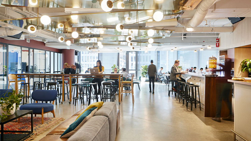 ▲ WeWork's co-working space in 333 George Street, located on the corner of George Street and Martin Place in central Sydney.