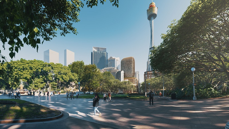 The Sydney CBD skyline with the new rounded tower above David Jones.