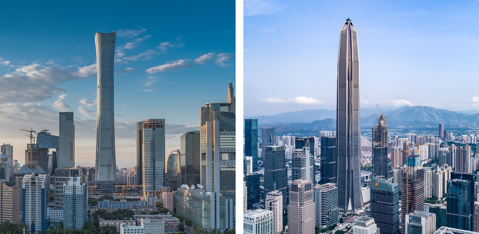 CITIC Tower - Beijing (left), Ping An Finance Center - Shenzhen (right).