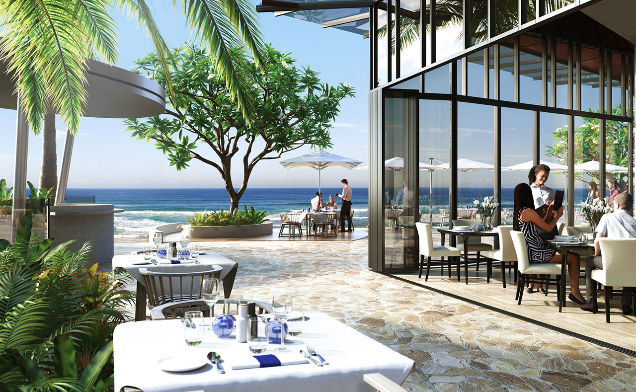 A spacious all-day dining hall will offer a range of cuisine within clear view of the water.