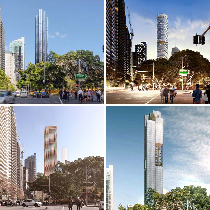 ▲ Artist renderings of the four architectural schemes submitted as part of the design competition.