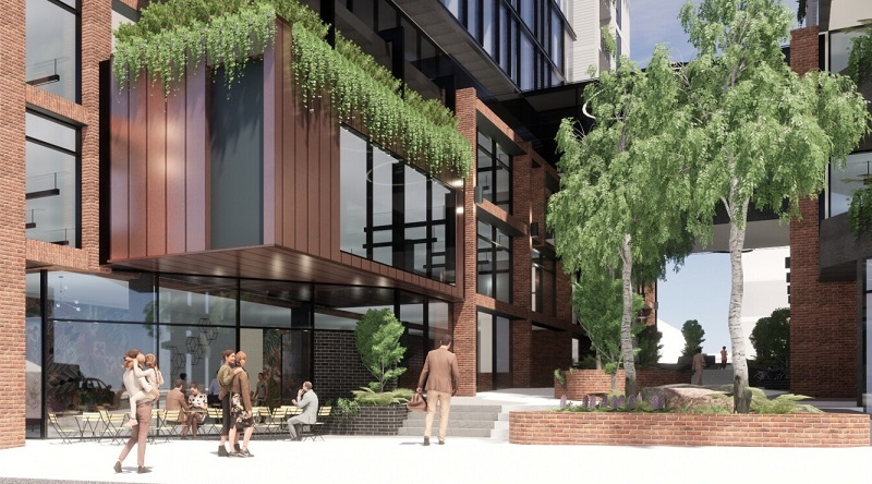 A render of a pedestrian walkway between two commercial buildings along a cafe and staircase in Geelong West.