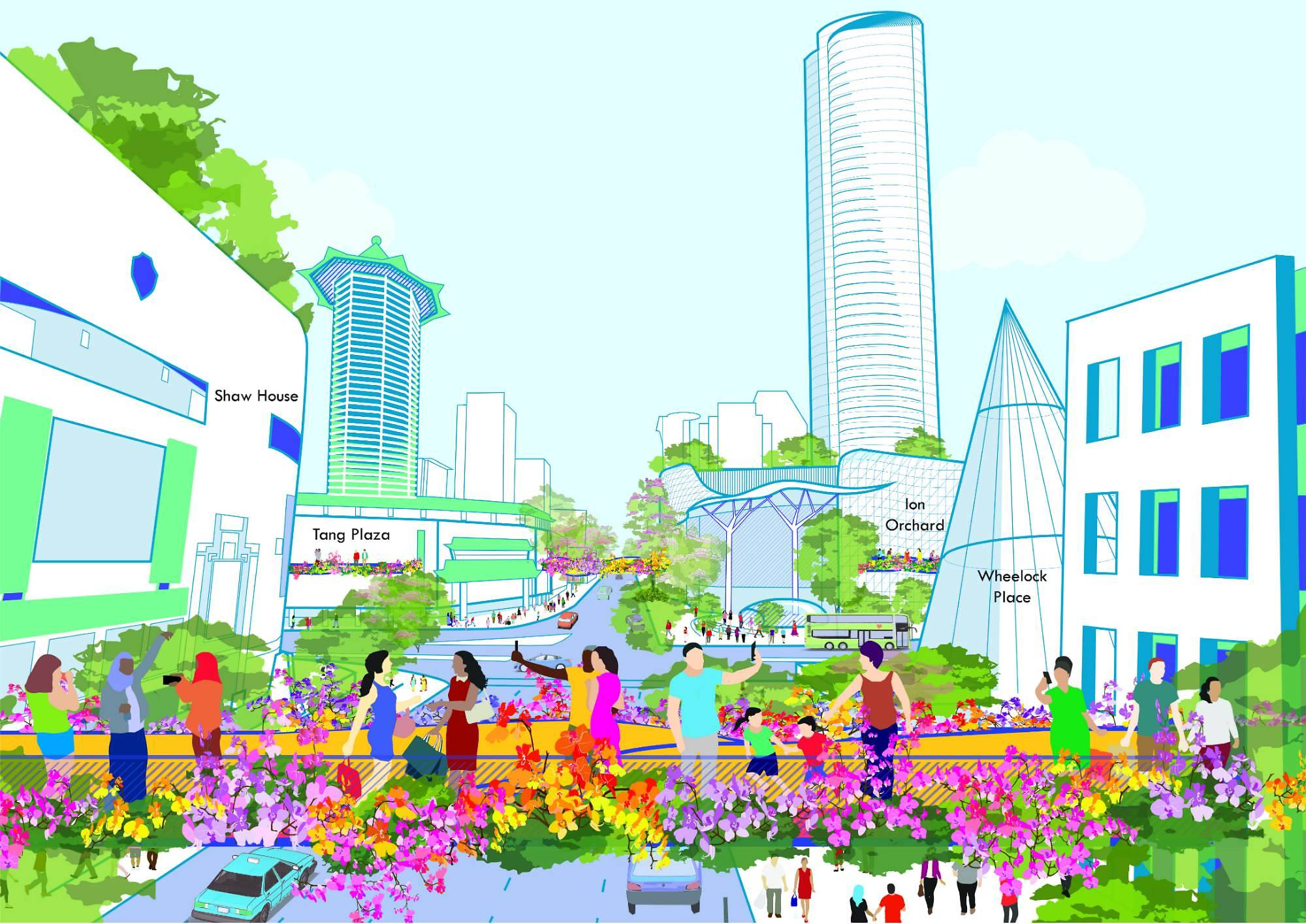 An artist's impression of a new vantage point at the junction of Orchard Road and Paterson Road.