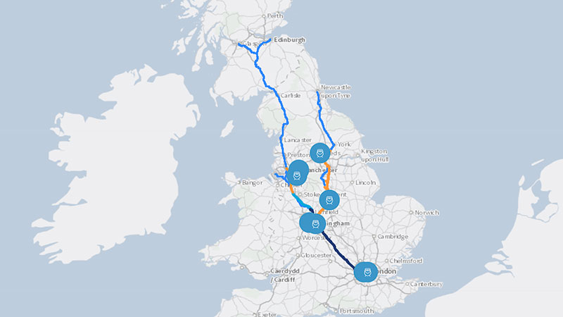 ▲ The city centres of London, Birmingham, Manchester, and Leeds will be connected by 555 kilometres of new high-speed railway track.