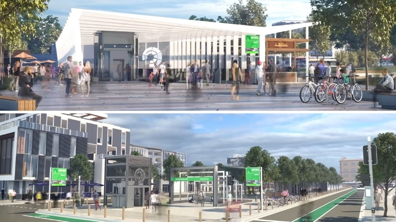 Two images of possible train stations to be built around Melbourne featuring coffee shops, open air structures and lots of pedestrians.