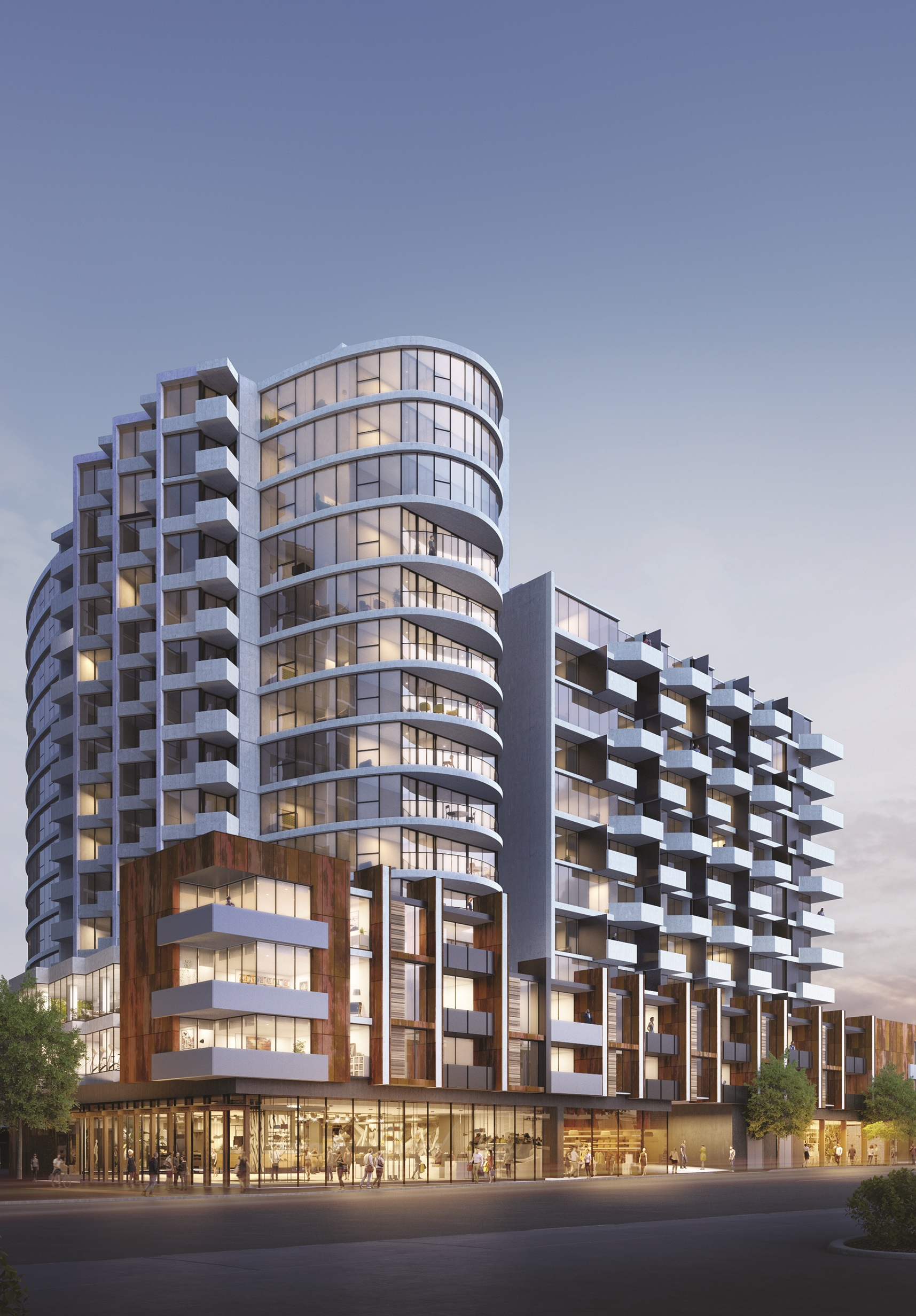 Stage one includes a 15 and 12 split-level tower comprising apartments, lower-level retail and hospitality outlets.
