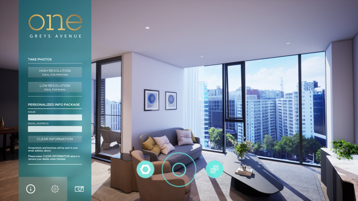 ​Realspace's intuitive touchscreen interface allows sales agents of home buyers to create their own customised high-resolution 3d renders.