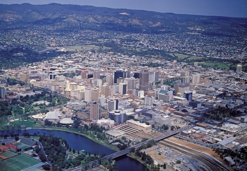 Aerial view of Adelaide with the river in the foreground