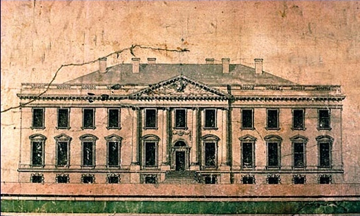 James Hoban's original winning White House design. Source: whitehousehistory.org