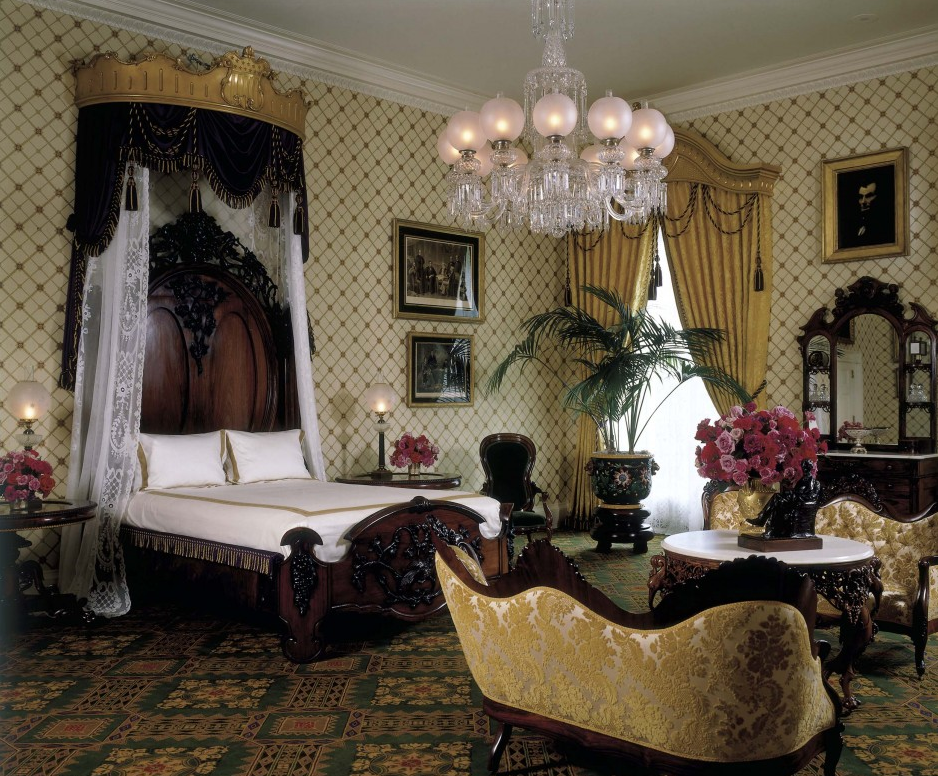 The Lincoln Bedroom, 2005. The massive bed—rosewood and rosewood-paint-grained walnut—was accompanied by a handsome marble-topped center table made by the New York shop of John Henry Belter. Source: whitehousehistory.org / White House Historical Association