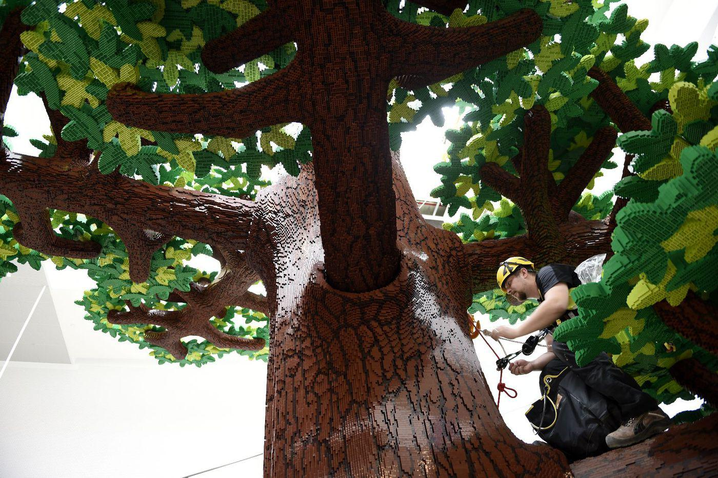 "Lego's 50-foot ""Tree of Creativity"" composed of 6.3 million individual Lego bricks."