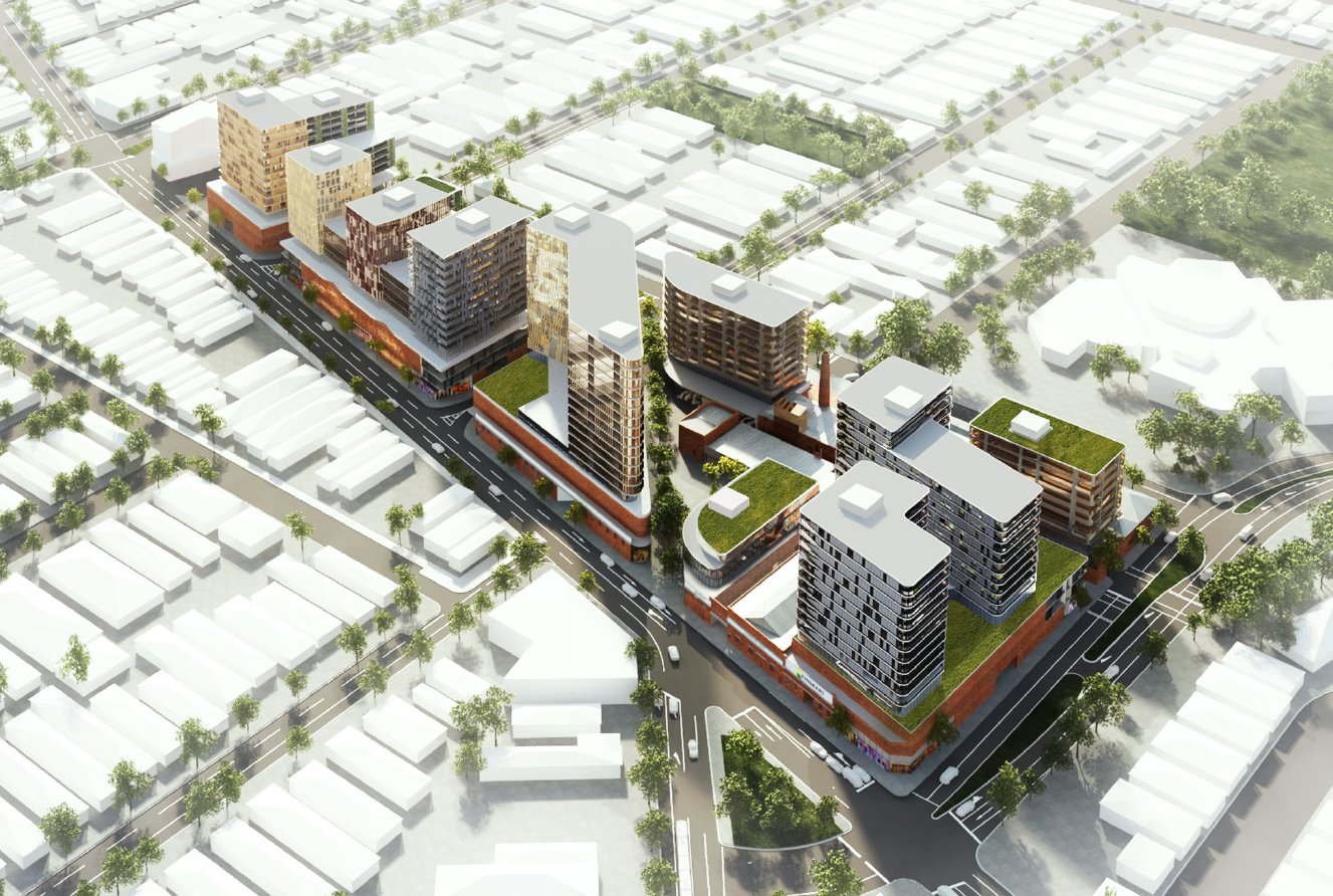 An aerial perspective R&F's Footscray masterplan. Image courtesy of R&F Property