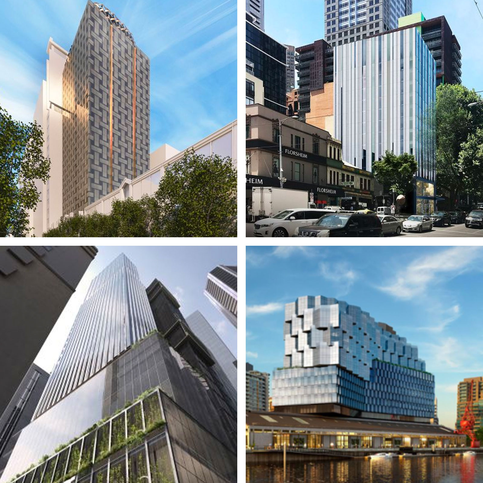 Hotels approved in Melbourne: 475 Flinders Lane (top left), 130 Russell Street (top right), 130 Little Collins Street (bottom left), Seafarers (bottom right).