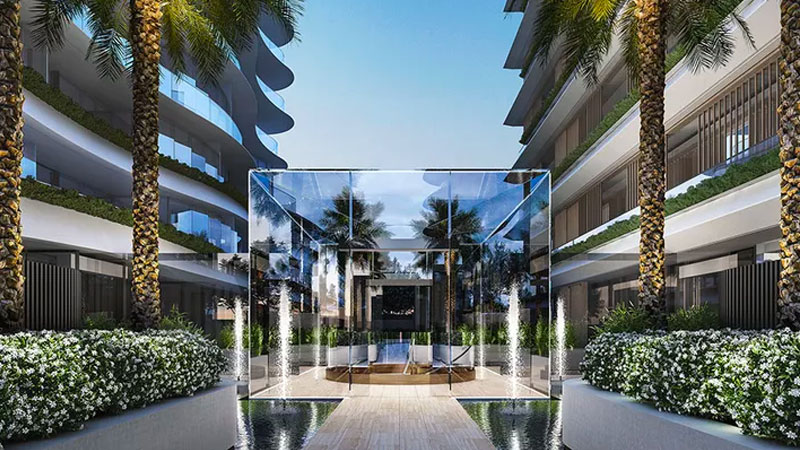 ▲ A $1.5m glass cube, inspired by the famous Apple store entry in New York, will meet residents upon arrival. Image: Gurner