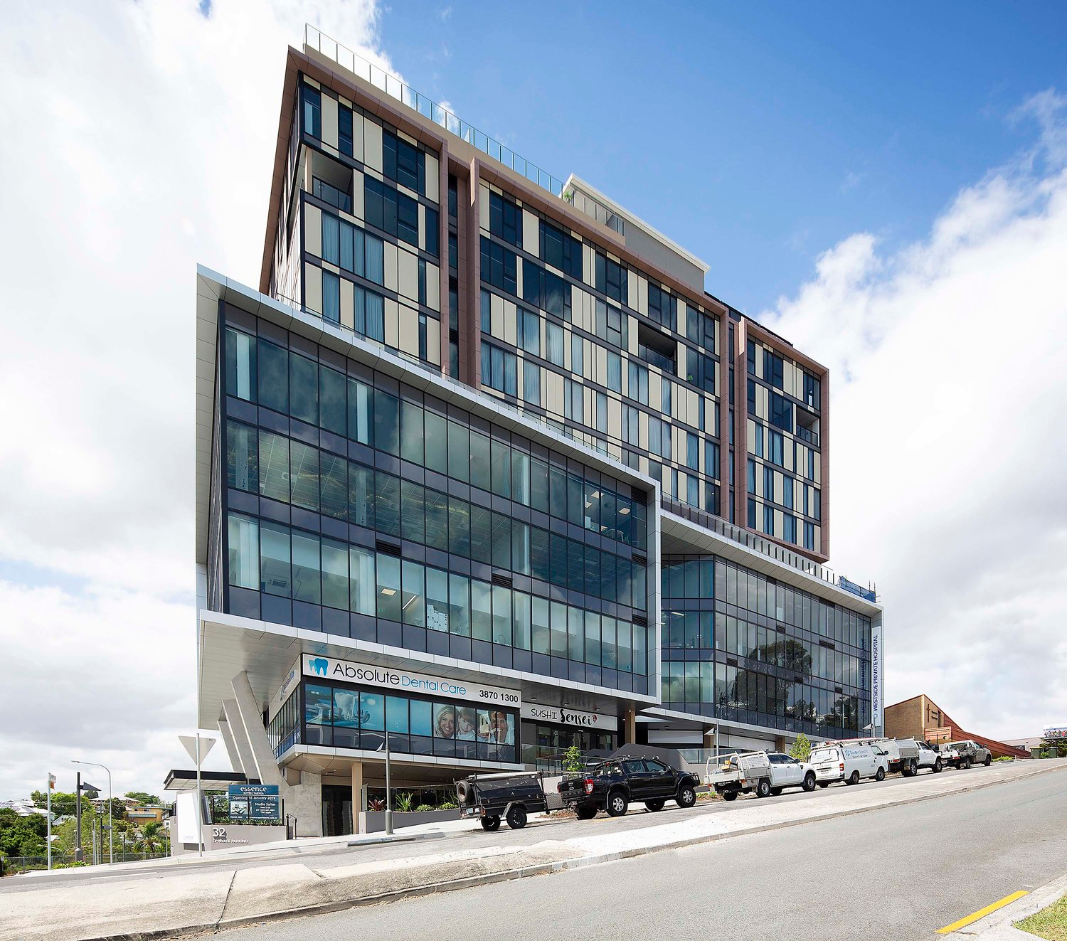 Located in Brisbane's inner-west, the state-of-the-art 15-storey development incorporates a multitude of businesses within a central hub of health care services, including the Westside Private Day Hospital, Essence Hotel, QLD X-Ray, childcare, allied health and specialist suites.