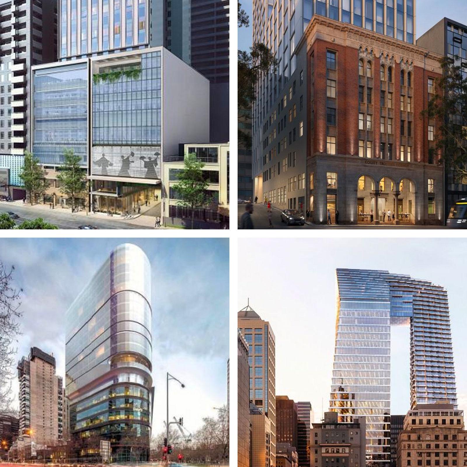 Hotels under construction in Melbourne:   Hilton Melbourne Little Queen Street (top right),