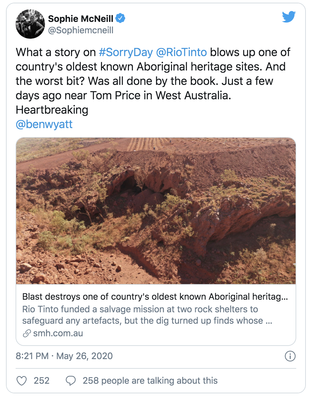 On the eve of Reconciliation Week. Rio Tinto just blasted away an ancient 46,000 year old Aboriginal site. Here's why that was allowed