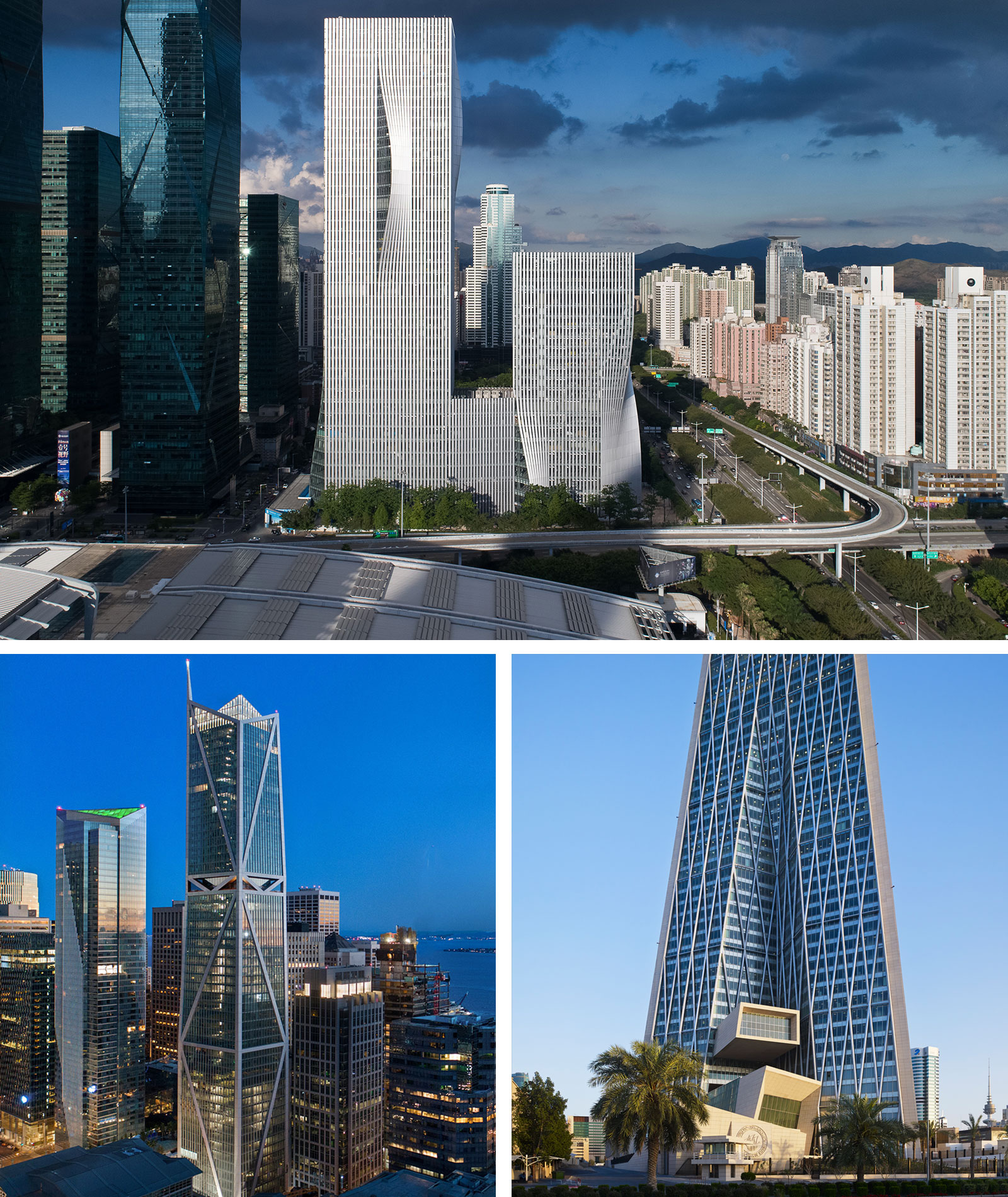 Shenzhen Energy Headquarter - Shenzhen (top middle), 181 Fremont Tower - San Francisco (bottom left), Bank of Kuwait New HQ - Kuwait City (bottom right).