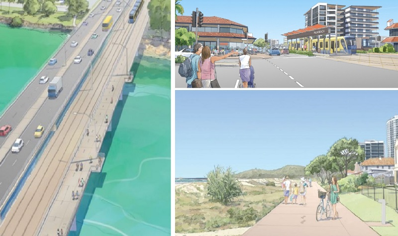▲Artist's impressions of transport options between Burleigh and Coolangatta.
