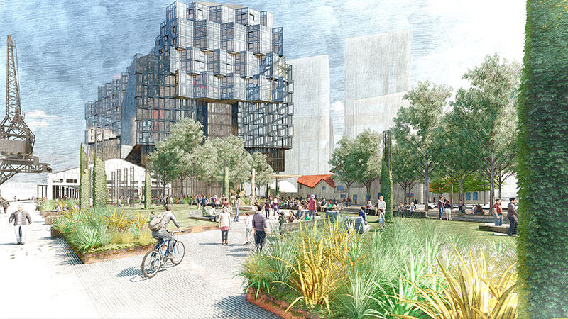▲ Plans for the new Docklands park Seafarers Rest, backed by Riverlee, the City of Melbourne and state Department of Treasury and Finance.