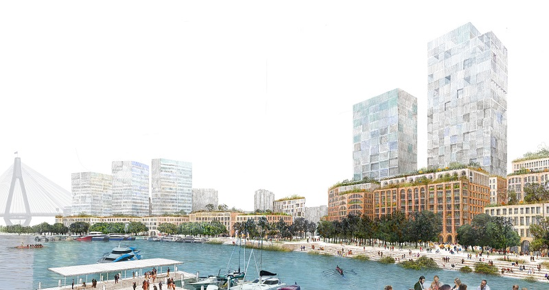 ▲ The job-focused plan contains less skyscrapers than the other two scenarios proposed for Blackwattle Bay on the current Sydney Fish Market site.