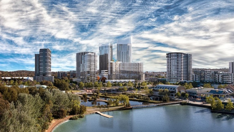 ▲ The plans Geocon's Republic Precinct were first revealed in 2016 featuring Canberra's tallest towers.
