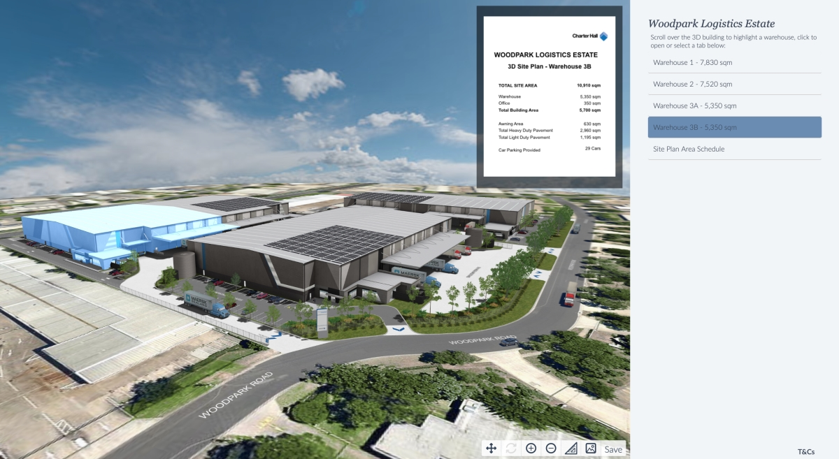 Smithsfield Logistics Centre, Charter Hall - flexible Warehouse tenancies visualised using interactive 3D