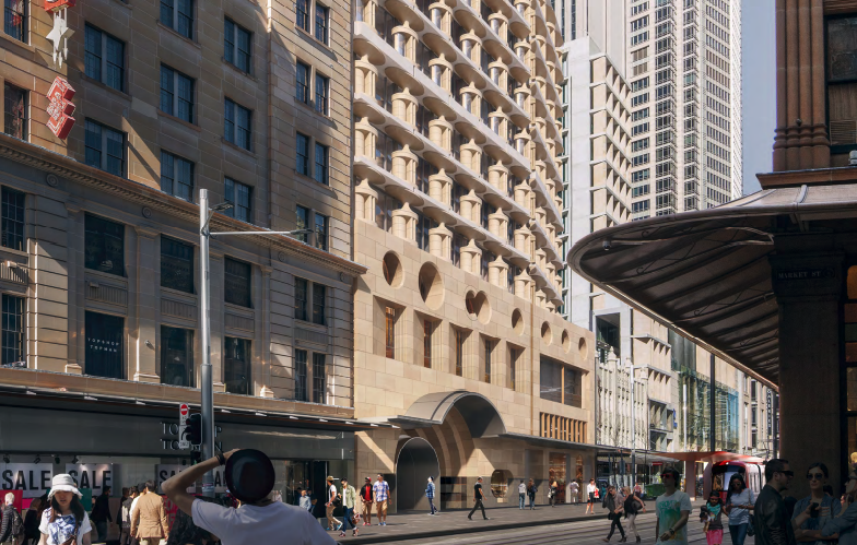 ▲ The proposal incorporates works which affect the state heritage listed State Theatre at 49-51 Market Street and the locally heritage listed Gowings Building at 452-456 George Street. Image: Candalepas Architecture