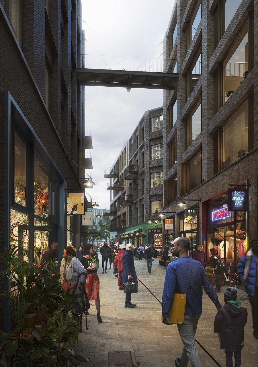 Artist impression of 'The Cuts' shopping area included in the Canada Water Masterplan.