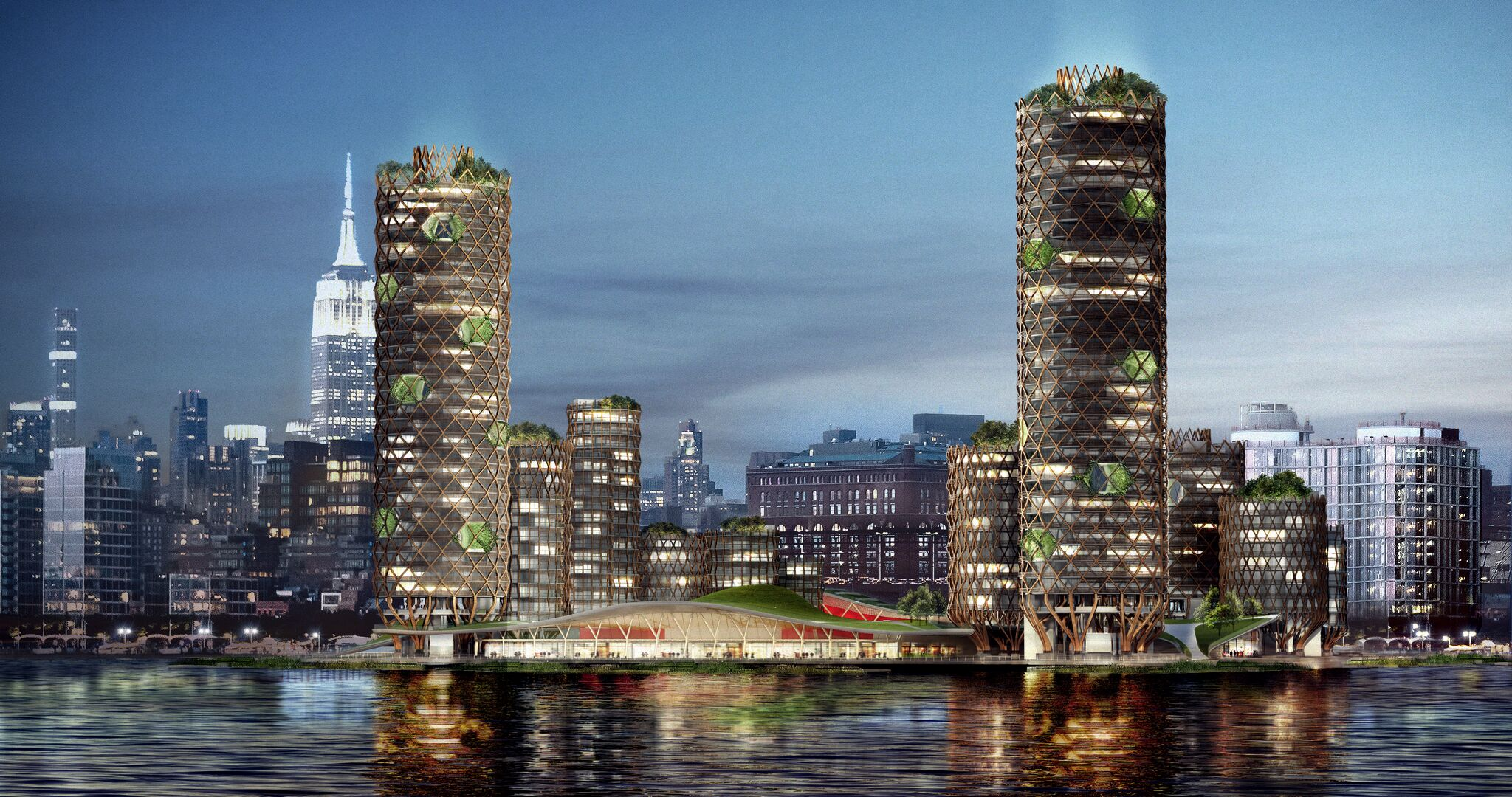 "New York-based design firm D From A propose 19 cylindrical high-rises as a ""floating island."""