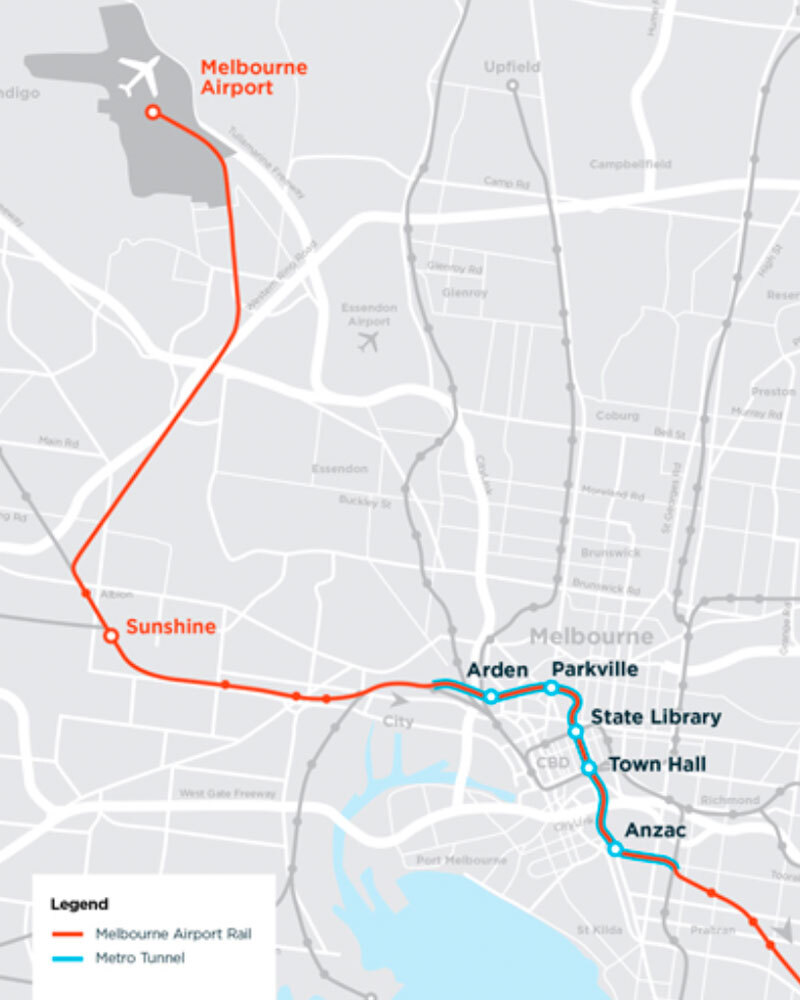 ▲ The Melbourne airport rail link will join the suburban loop. Image: Victorian Government