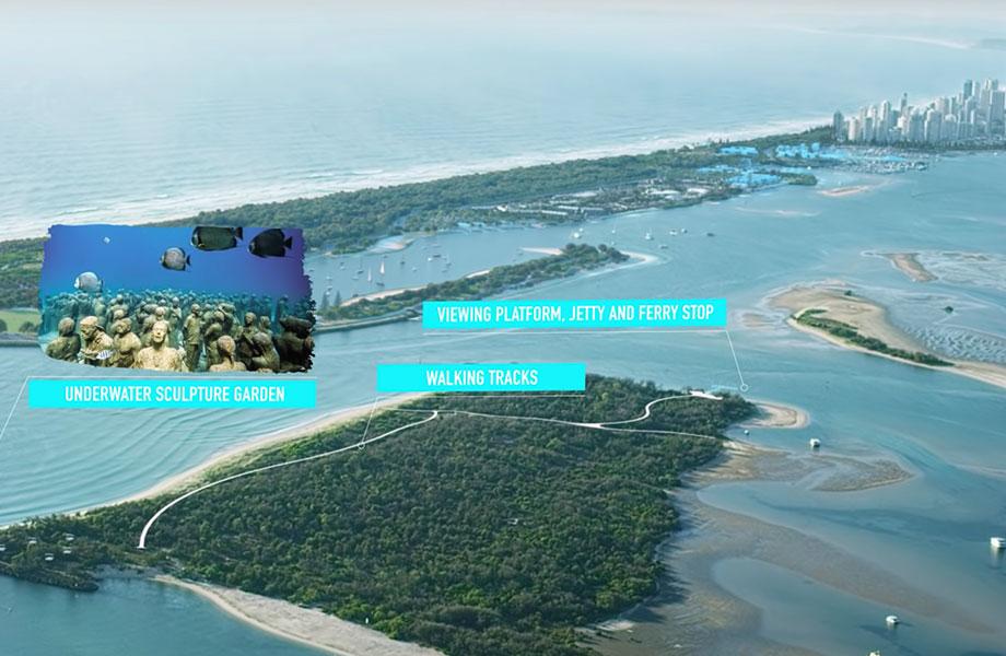 The plan suggests an underwater sculpture garden for divers off Wave Break Island.