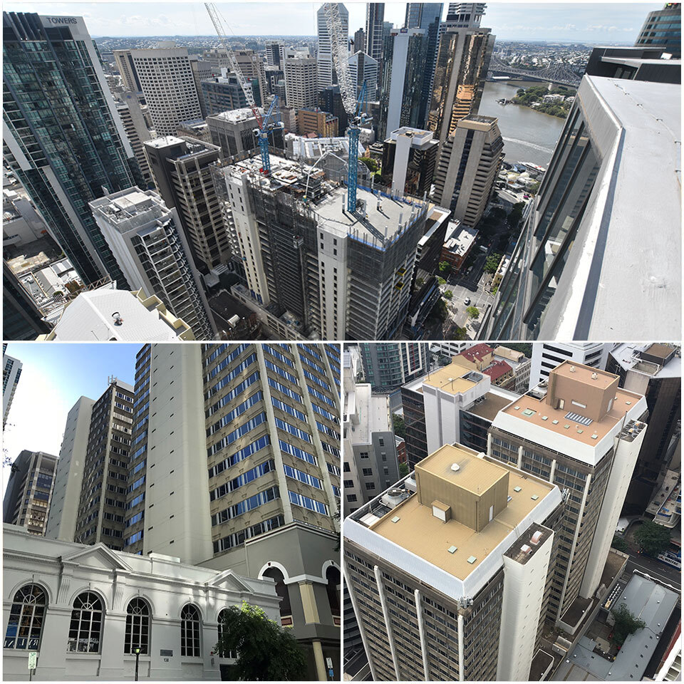 Aerial before, after and in-progress photos illustrating a first of its kind in Australia, the successful completion of the full merging of two separate commercial buildings by Hutchinson Builders as part of Brisbane's Fender Katsalidis-designed Midtown Centre.