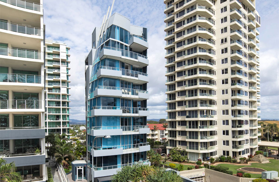 ▲ Spyre will demolish the existing 9-storey tower on the site. Image: 112 The Esplanade, Burleigh Heads.