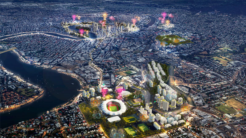 ▲ Re-imagined view of Brisbane's skyline in 2032 as part of the city's bid to host the Olympics. Source: Urbis