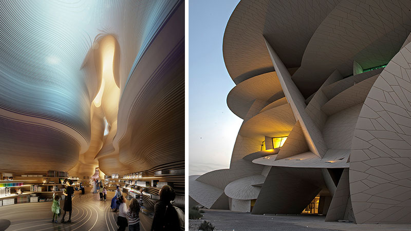 ▲ The National Museum of Qatar in Doha. Koichi Takada Architects won an international competition to design the interiors in 2012. The exterior designed by French architect Jean Nouvel.