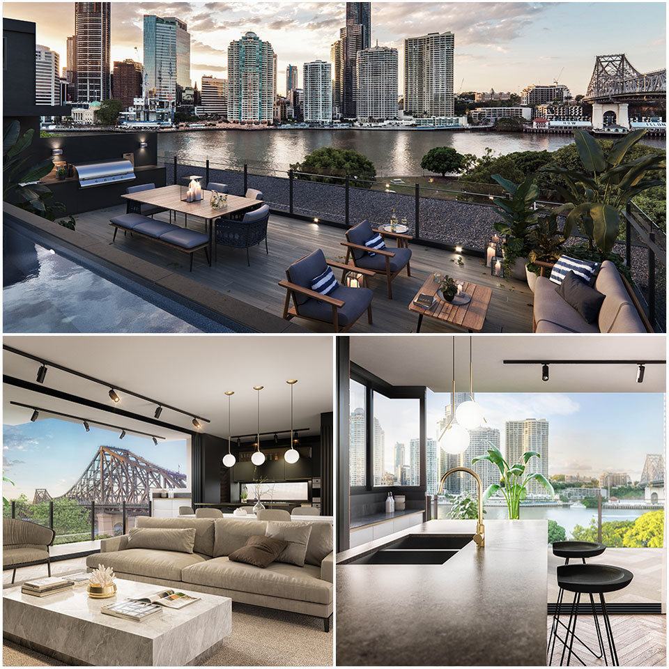 ▲ The project will offer residents uninterrupted views of the Brisbane skyline, Story Bridge and Captain Burke Park. Image: WallaceBrice Architecture