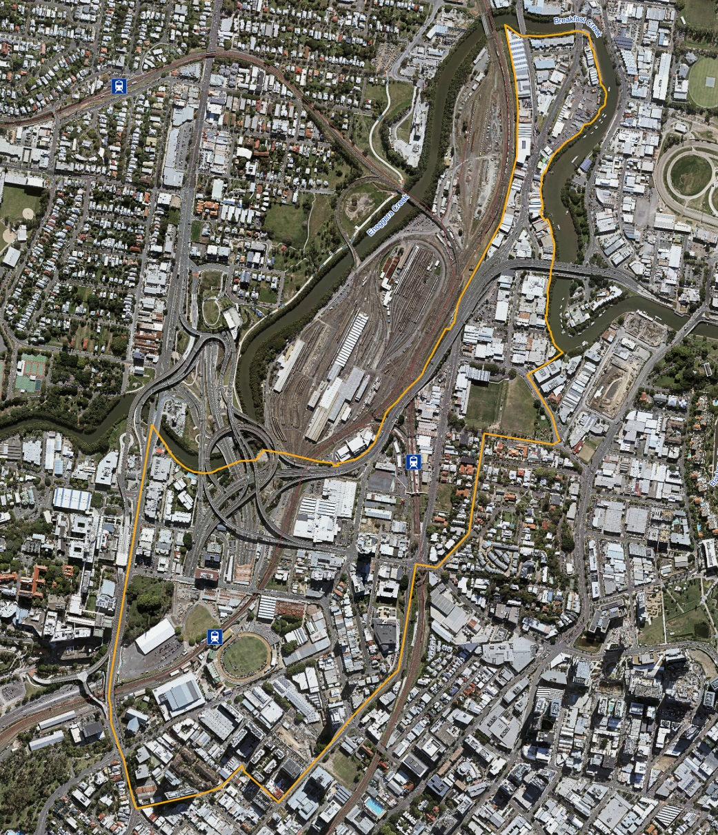 The PDA is roughly 108 hectares bound by Bowen Bridge Road and Enoggera Creek to the west, the Mayne Rail Yards and Breakfast Creek to the north, Water Street and St Pauls Terrace to the south and Breakfast Creek, Cintra Road and Markwell Street to the east.